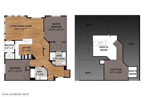 2 Bed / 2 Bath / 1,355ft²
