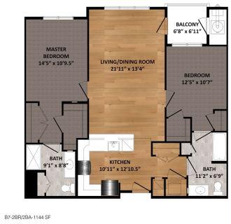 2 Bed / 2 Bath / 1,144ft²