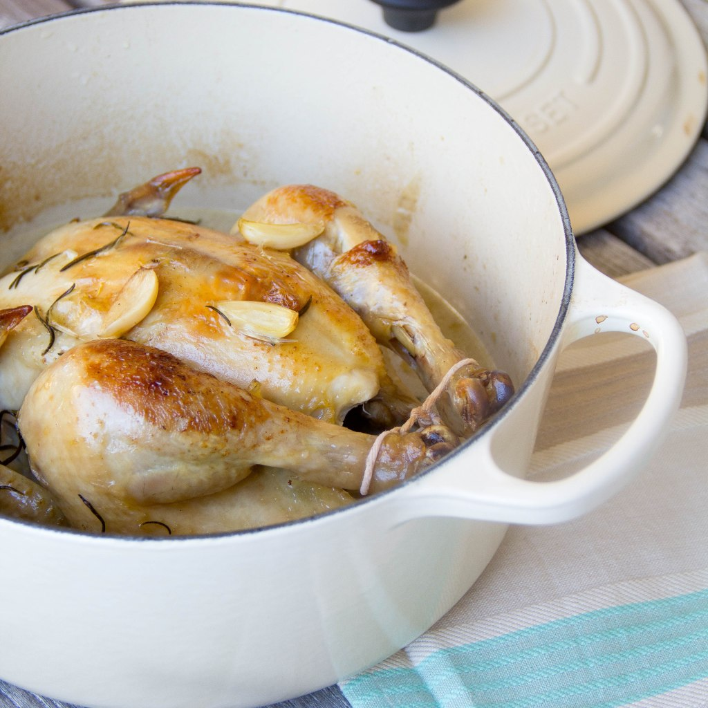 Pot Roasted Chicken with 27 Cloves of Garlic