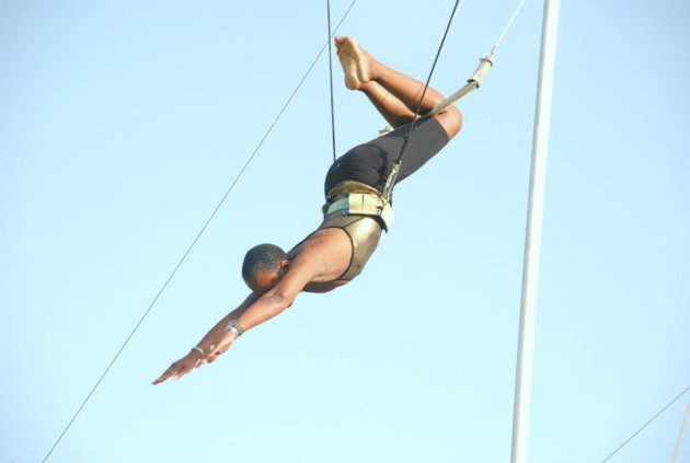 The only sport she believes in is the flying trapeze.