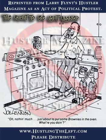 Larry Flynt's Hustler cartoon where child abductor is about to put two brownies in the oven.