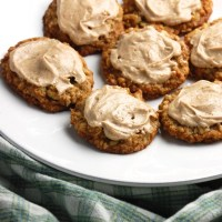 oatmeal cookies with cinnamon-coffee frosting.