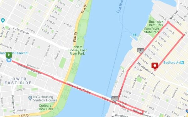 rucking route across Williamsburg Bridge to Radegast Biergarten