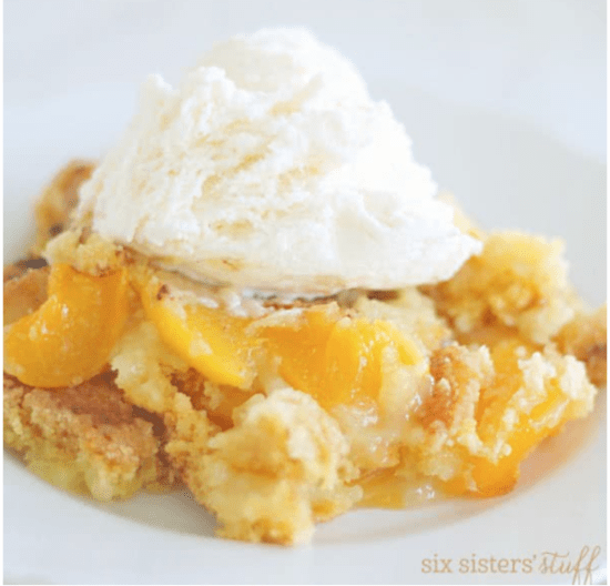 31 Fast and Easy Party Pleasers - Cheap Recipes to Impress. peach dump cobbler. The Rising Damsel