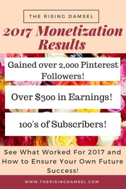 The Rising Damsel's year end review. Find out what worked for my first year of monetization. It was a crazy ride! #blogger #blog #wah #career