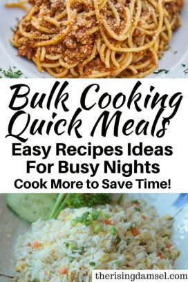 Bulk Cooking Meals to save time. I always wonder how I can stretch a meal further! This post shows you how. The Rising Damsel