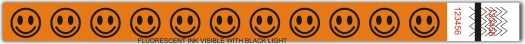 Happy faces tyvek wristband 3.25 x 10 in. with orange flourestcent ink.