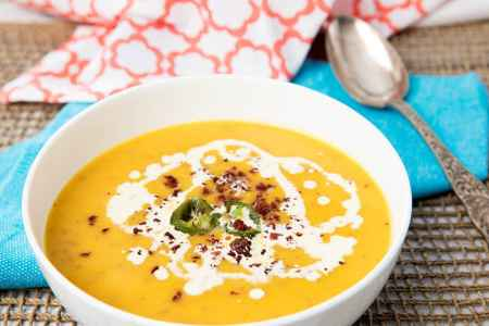 Jalapeno Pumpkin Soup with Chorizo Crumb