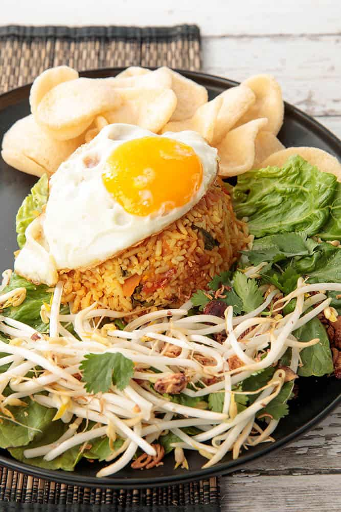Balinese Fried Rice with Sprouts, Fried Shallot & Peanuts