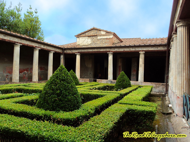 A courtyard and garden in Pompeii, Italy