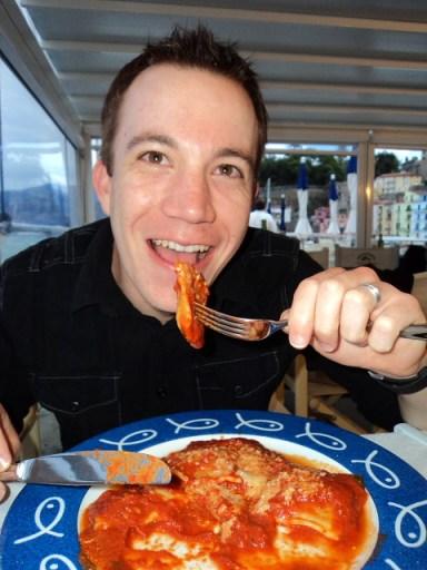 eating ravioli in Sorrento, Italy
