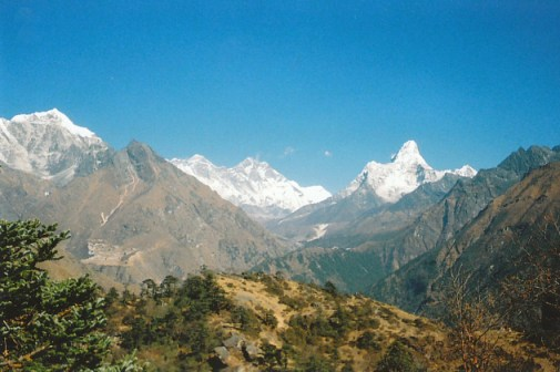 View of Mt Everest from above Namche Bazaar