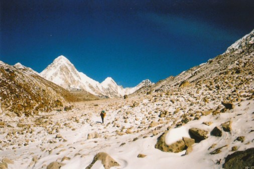 View of snow covered landscape near Lobuche, Nepal
