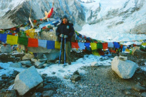 Standing at Mount Everest Base camp, Nepal