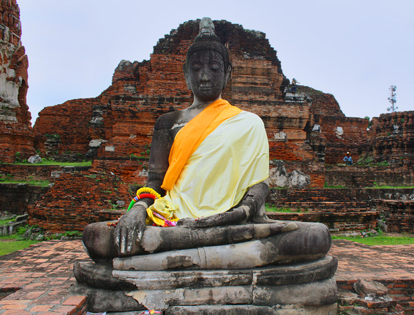 Buddha in the Ruins of Wat Mahathat in Ayutthaya, Thailand