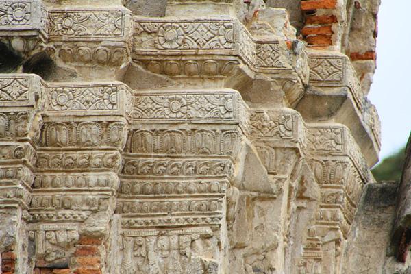 carvings at the Ruins of Wat Mahathat in Ayutthaya, Thailand