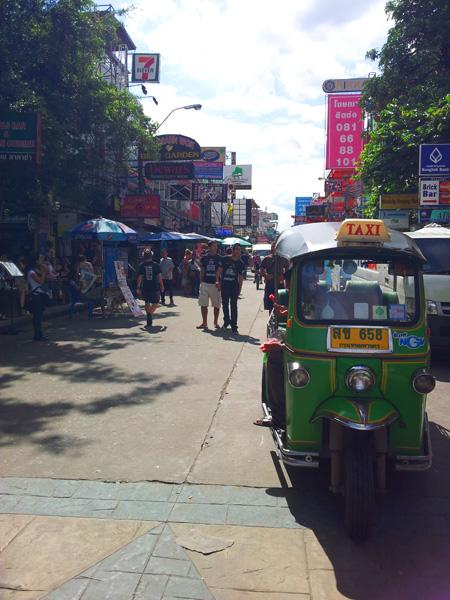 a tuk tuk on Khao San Road, Bangkok, Thailand