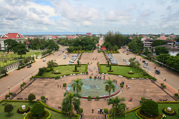 Looking down on the parkland and fountain from the top of Patuxai in Vientiane, laos