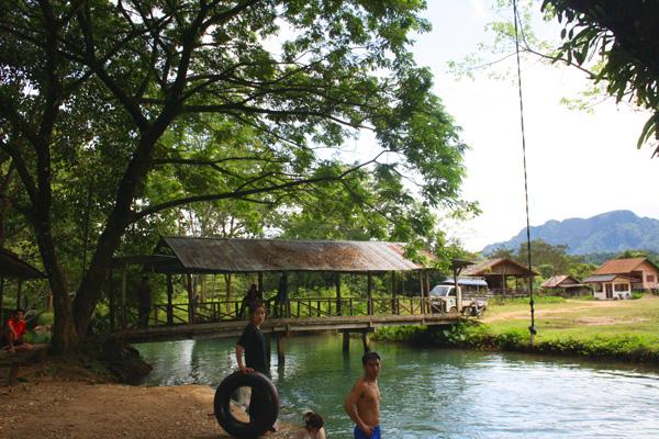 Swimming in the Blue lagoon near Vang Vieng, Laos