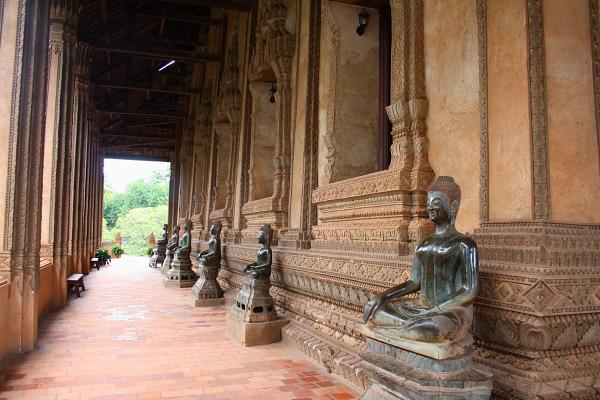 Bronze Buddhas at Ho Phra Keo in Vientiane, Laos