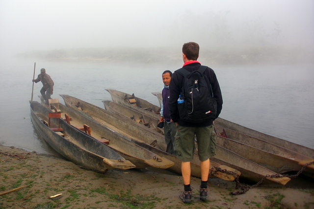 Dugout canoes in Chitwan National Park, Nepal