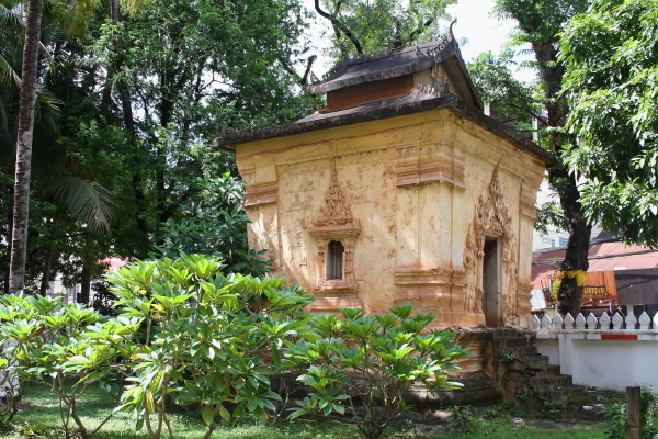 An old shrine in Wat Inpeng in Vientiane, Laos