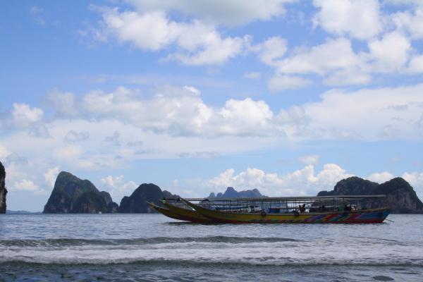 Long tail boat in Phang Nga Bay near James bond island, Thailand