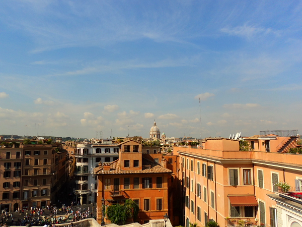 View from the spanish steps in Rome, Italy