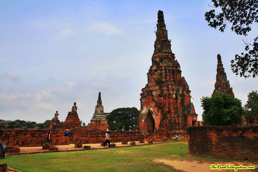 Towers and chedis at Wat Chaiwatthanaram in Ayutthaya, Thailand