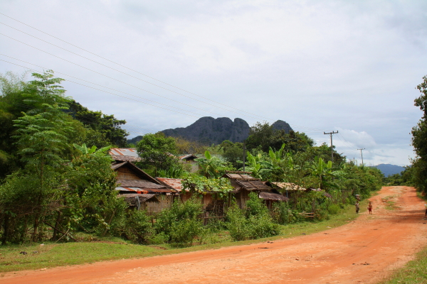 A village in Vang Vieng, Laos