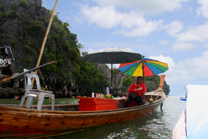Local selling drinks in Phang Nga Bay, Thailand