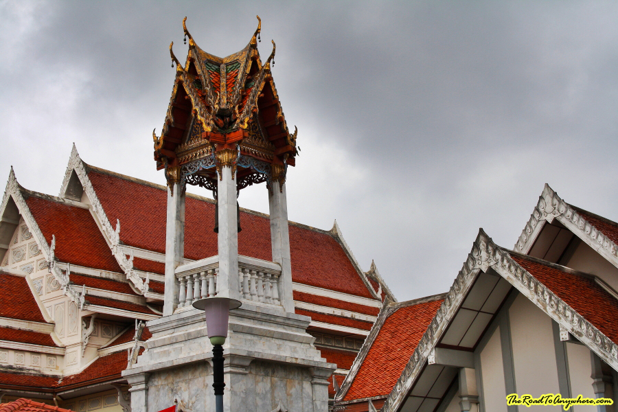 A bell tower at Wat Indraviharn in Bangkok, Thailand