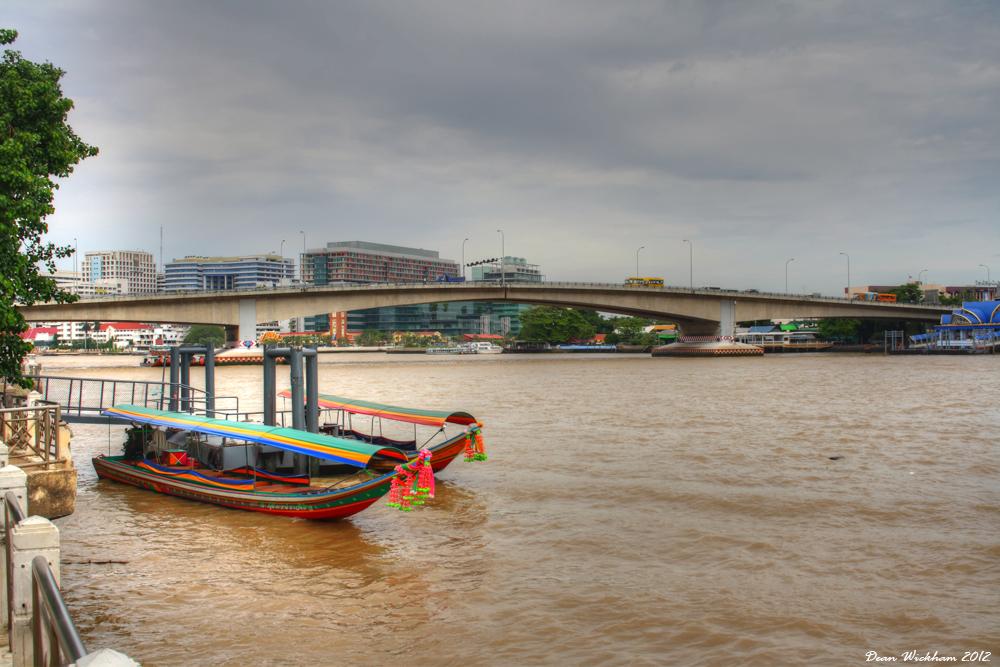 Long tail boats on the Chao Phraya River in Bangkok, Thailand