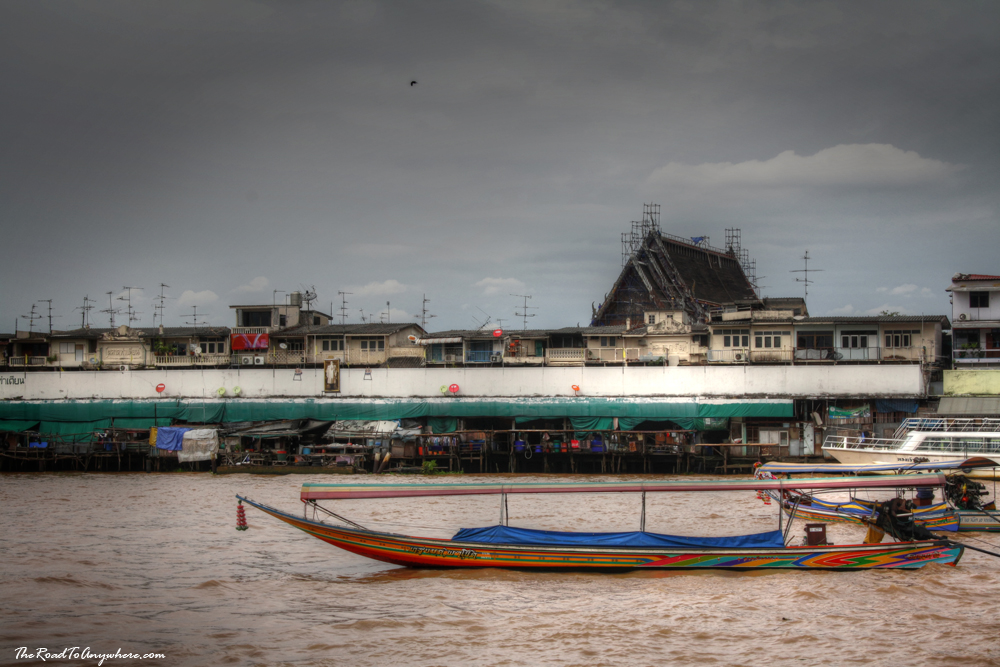 A long tail boat on the Chao Phraya River in Bangkok, Thailand