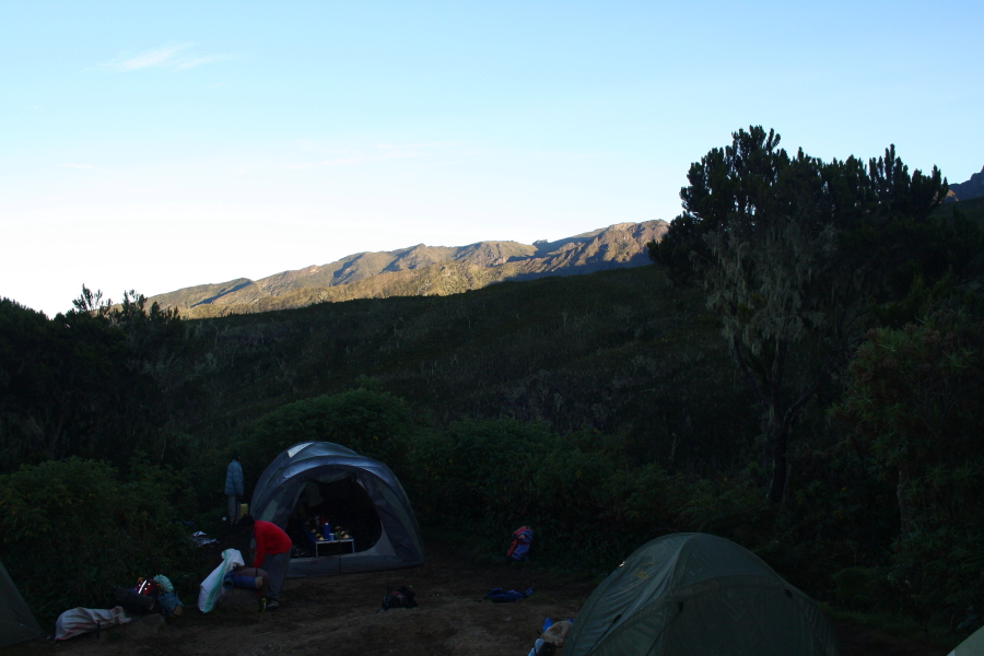 Camping at Machame Hut on Mount Kilimanjaro, Tanzania