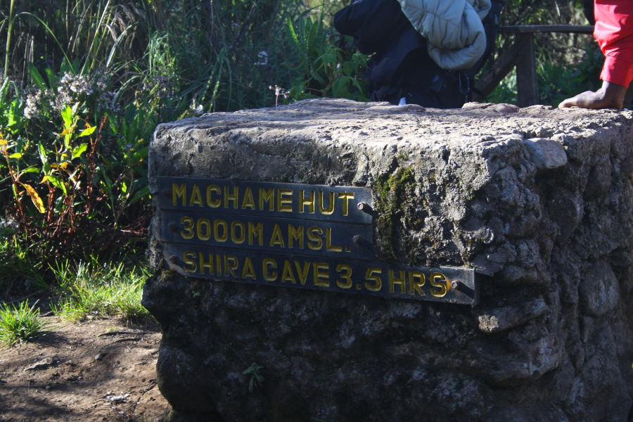 Machame Hut sign on Mount Kilimanjaro, Tanzania