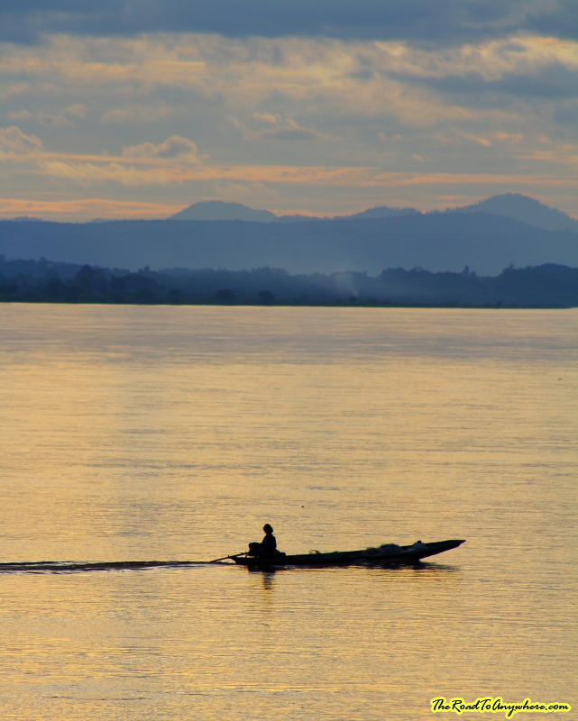 Boat on the Mekong River at Sunset in Vientiane, Laos