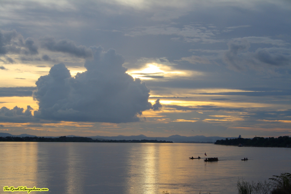 Rowers at Sunset in Vientiane, Laos