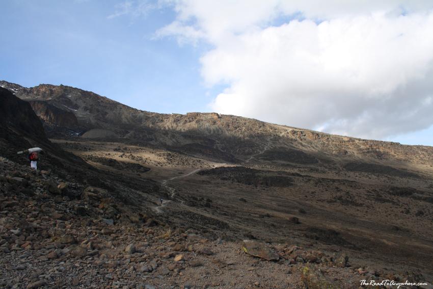 Looking at the trail to barafu Camp on Mount Kilimanjaro, Tanzania