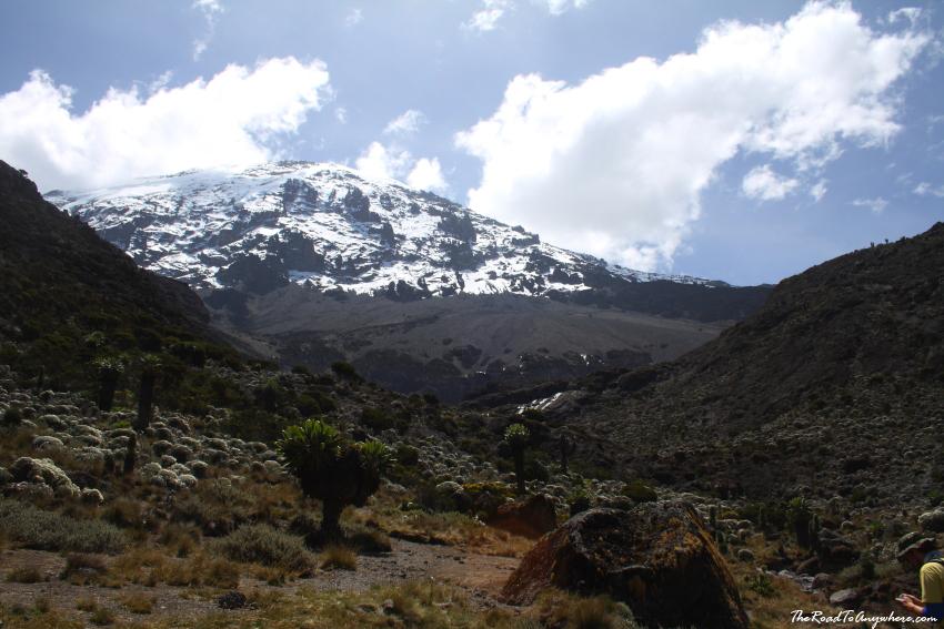 View of Kibo Peak from Karanga Valley on Mount Kilimanjaro, Tanzania