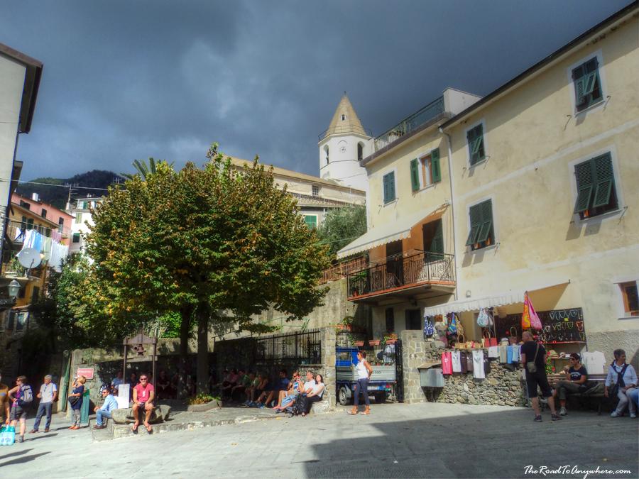 Piazza in Corniglia in Cinque Terre, Italy