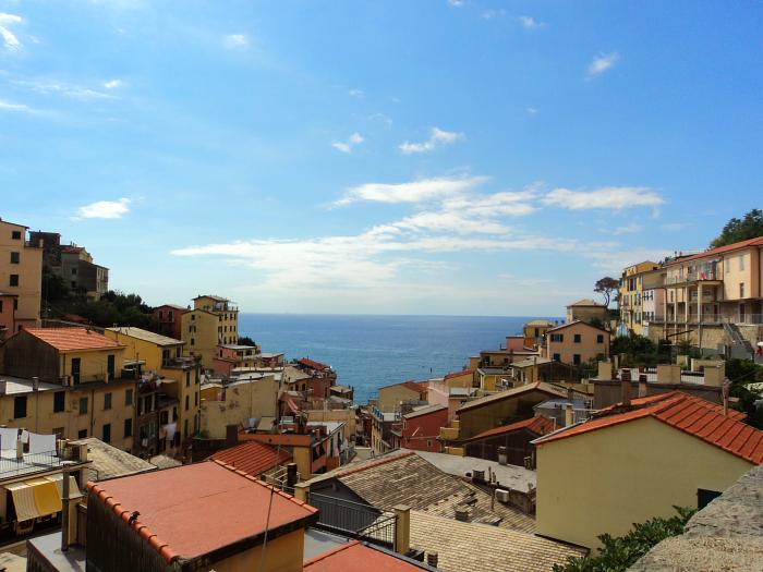 Rooftop views in Riomaggiore in Cinque Terre, Italy