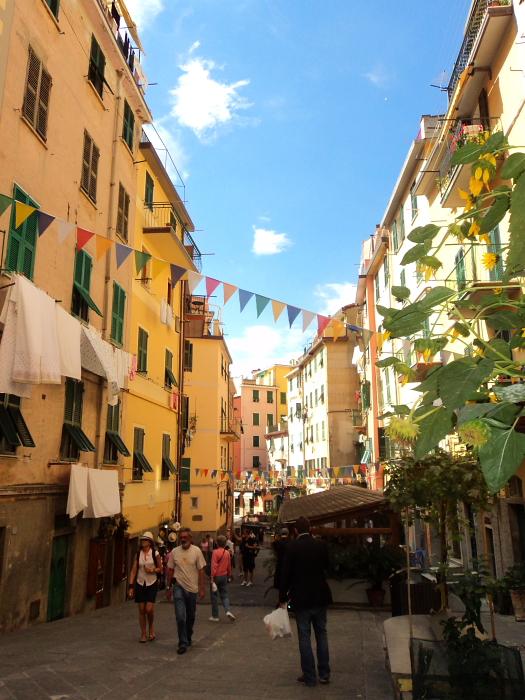 The main street in Riomaggiore in Cinque Terre, Italy