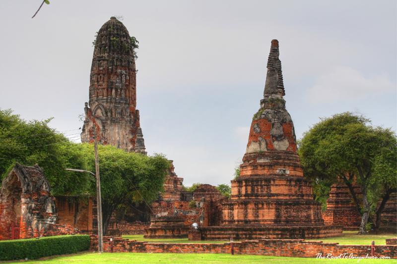 Towers and chedis at Wat Phra Ram in Ayutthaya, Thailand
