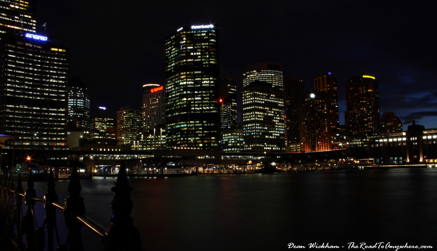 Sydney city CBD lit up at night in Sydney, Australia