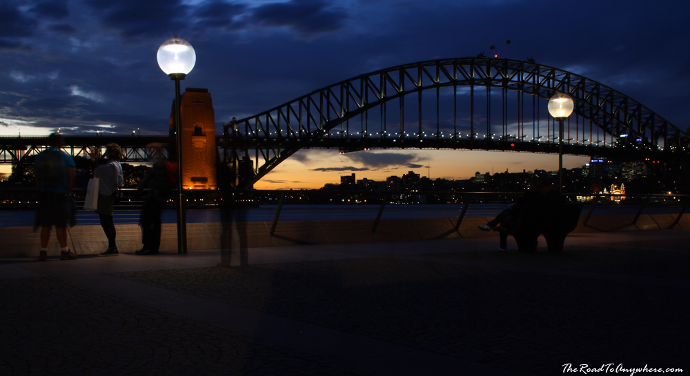 Sydney Harbour Bridge at dusk in Sydney, Australia