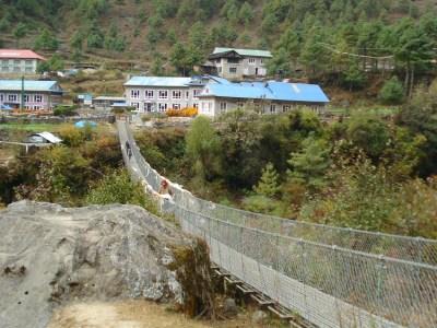 Bridge crossing the Dudh Kosi River in Phakding, Nepal