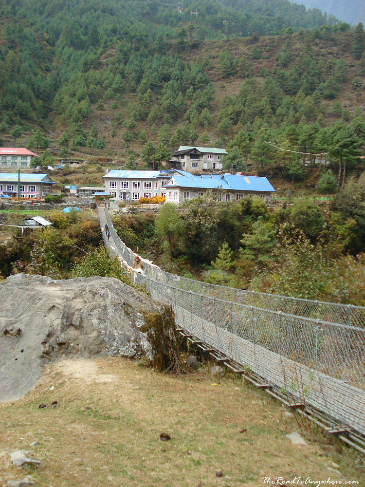 Bridge crossing the Dudh Kosi River in Phakding, Nepal
