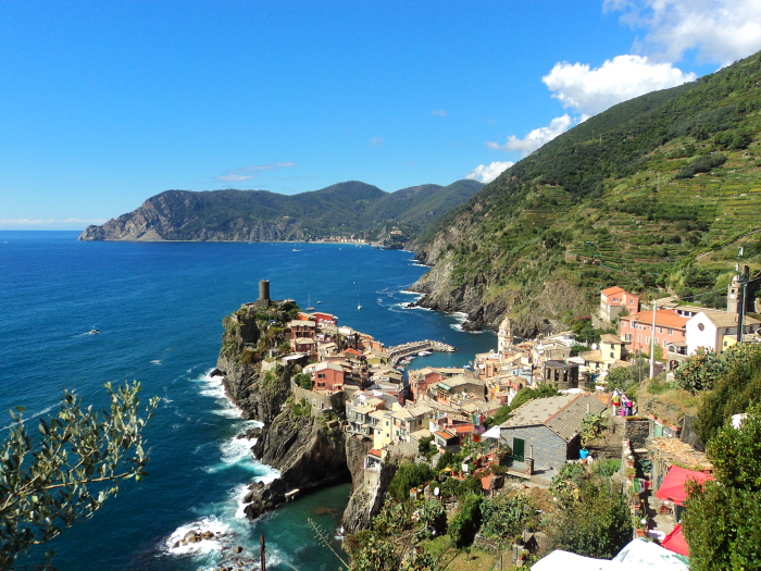 View of Vernazza from above in Cinque terre, Italy