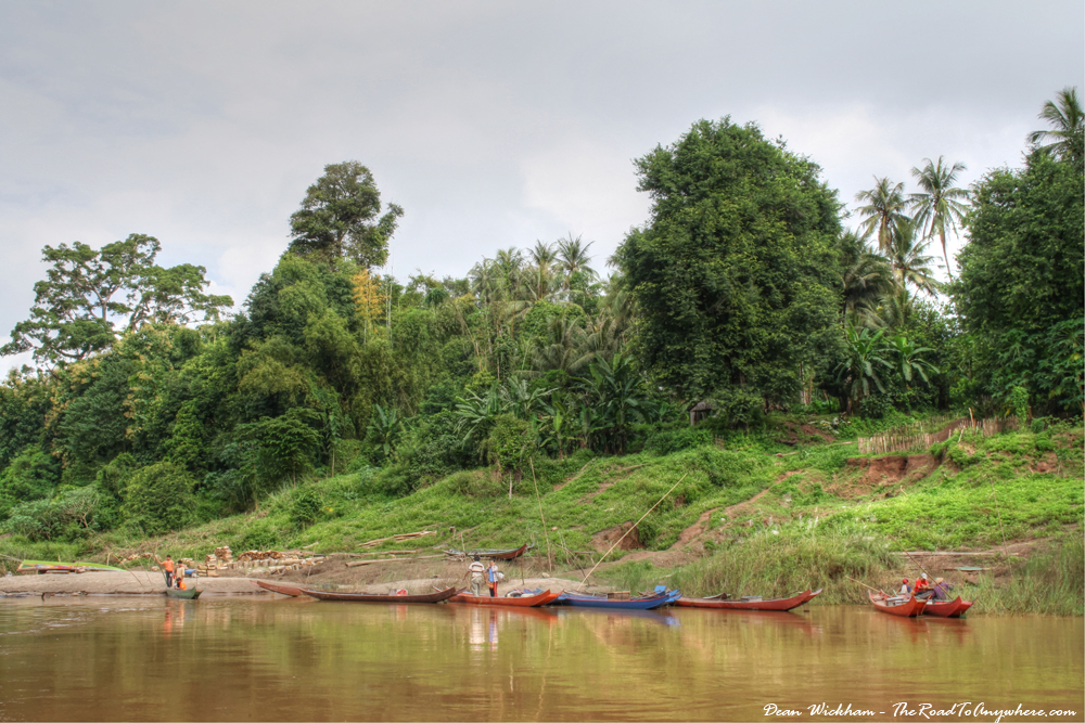 Boats at the banks of the Mekong River, Laos